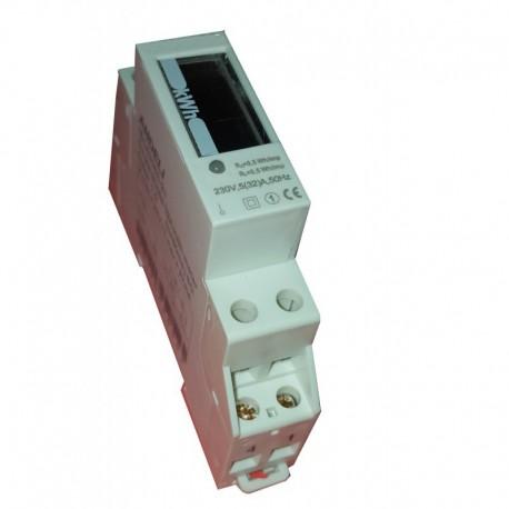 Contador de energía eléctrica monofásico 1 módulo carril DIN