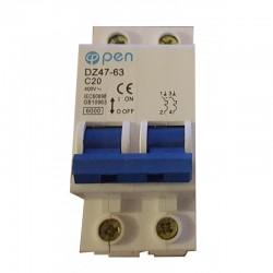 Magnetotérmico 400 VAC. 6A. 2 polos (2x6A) O.Electric