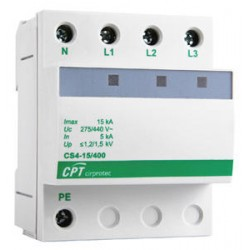 Protector contra sobretensiones transitorias, tipo 2, 400 V, 15 kA y trifásico (tetrapolar).