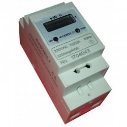 Contador de energía eléctrica monofásico 2 módulo carril DIN